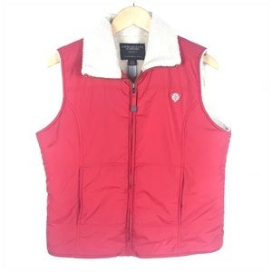 American Eagle Red Sherpa Zip Up Vest Size Large